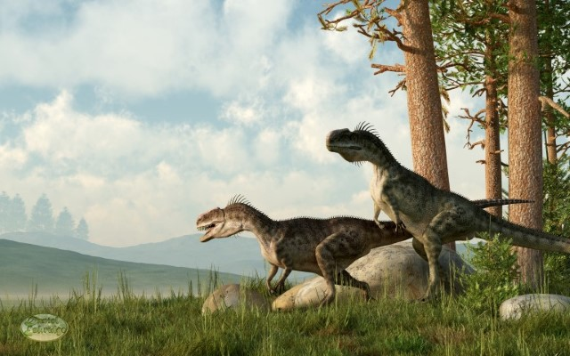 Monolophosaurs On The Hunt